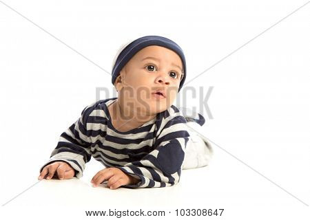 Happy 4 Months Old African American Baby Boy Crawling on Isolated Background