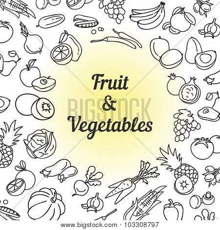 Fruit and vegetables hand drawn healthy eating icons