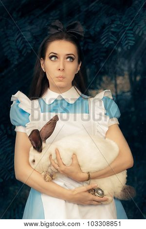 Funny Girl Costumed For Halloween with The White Rabbit