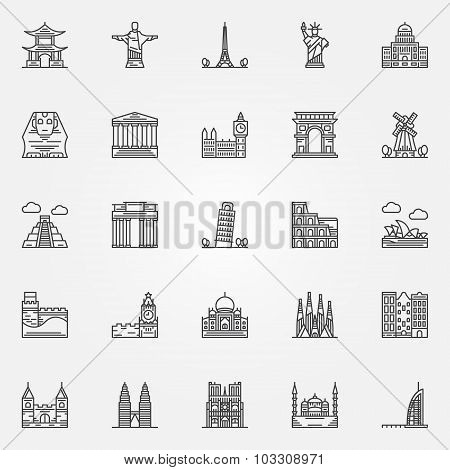 Popular travel landmarks icons