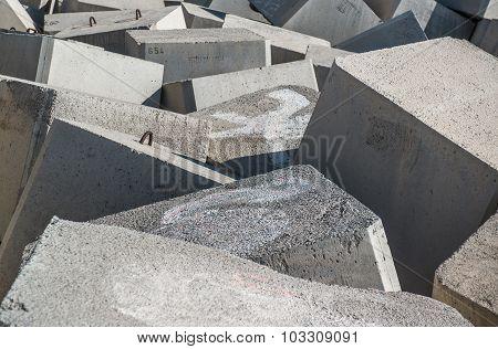 Breakwater. Concrete Blocks Close-up