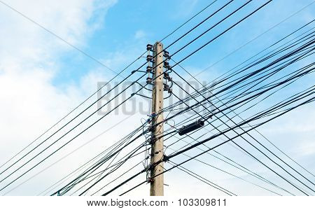 Electricity Post In Cloud And Blue Sky Background
