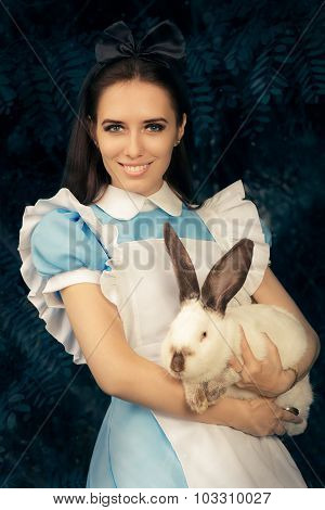 Girl Costumed For Halloween with The White Rabbit