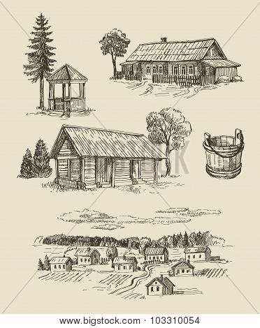 farm and vintage hand drawn