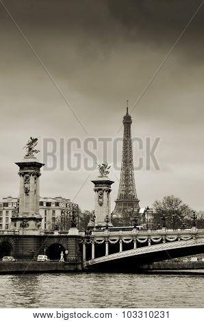 Eiffel Tower And Alexander Bridge In Paris