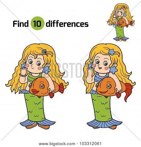 Find Differences For Children: Halloween Characters (mermaid Costume)