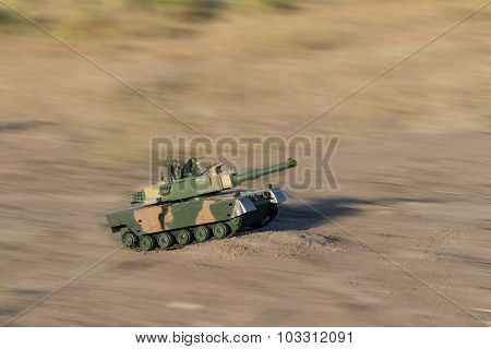 tank races across the desert