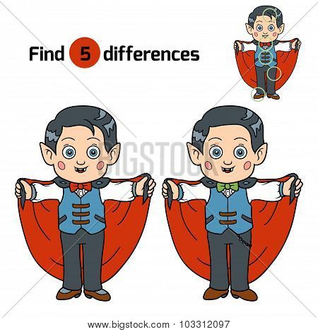 Find Differences For Children: Halloween Characters (vampire)