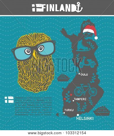 Creative geographic map of Finland - Scandinavian country and clever owl.