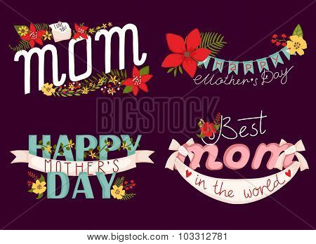 A set of floral design elements for mother's day
