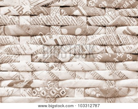 Twisted Weaving Newspapers. Abstract Textured Background.