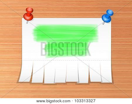 The Paper Advertisement With Highlights On A Wooden Background. Vector Illustration