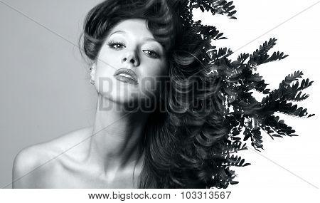 Double Exposure Of Beautiful Caucasian Woman.