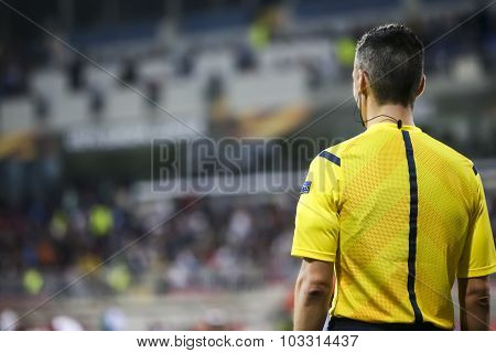 The Assistant Referee During The Uefa Europa League Game Between Qabala And Paok, In Baku, Azerbaija