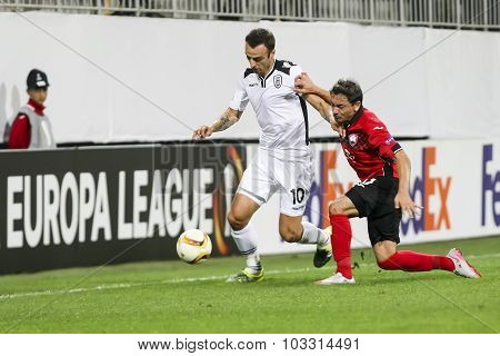 Dimitar Berbatov (l) And Ricardinho (r) During The Uefa Europa League Game Between Qabala And Paok,