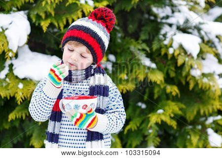 Cute Boy Holding Big Cup  And Hot Chocolate Drink And Marshmallo