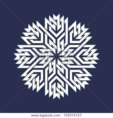 Eight pointed mandala in snowflakes form on dark background.