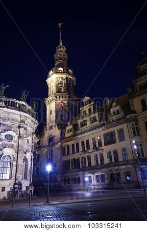 Clock tower in Dresden at night