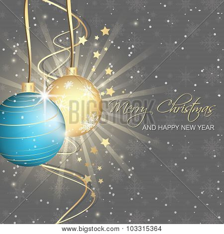 Christmas background, baubles, stars, swirly lines and snowflakes pattern