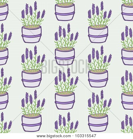 Lavender. Seamless pattern with flower pots on the white background. Hand-drawn original background.