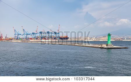 Port Of Naples, Container Cranes And Pier