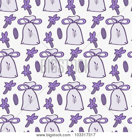 Lavender. Seamless pattern with pouches or sachetes and flowers on the white background. Hand-drawn