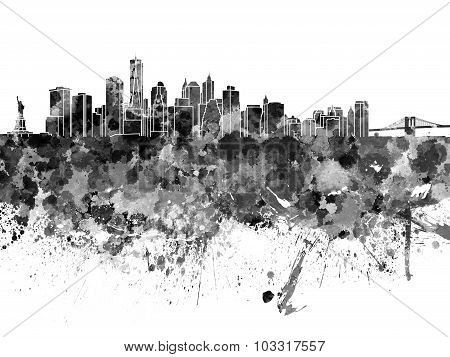 New York Skyline In Black Watercolor