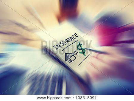 Businessman Working Finance Home Insurance Concept