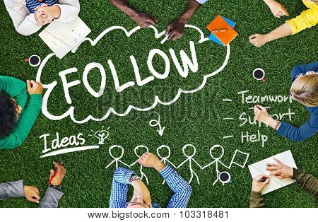 Follow Track Subscribe Social Media Concept