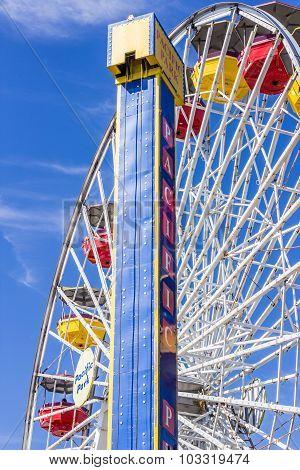 SANTA MONICA, CALIFORNIA - AUGUST 2, 2015: Pacific Park on the Santa Monica pier in Santa Monica, Ca