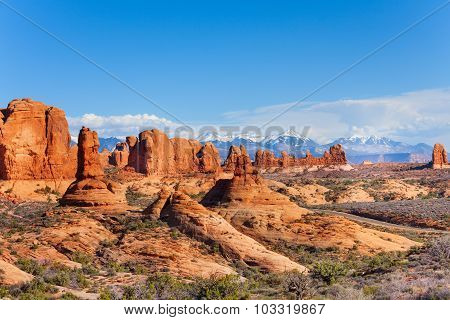 Arches park plateau and Mt Waas in USA