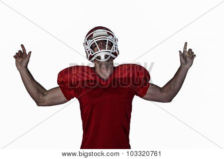 Rugby player pointing up and cheering over white background