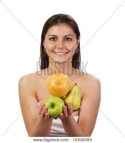 Pretty Girl With Fruit