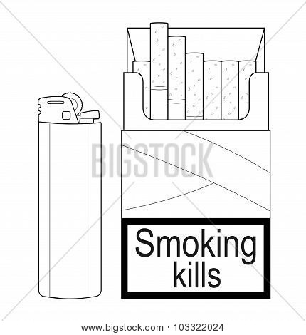 Open cigarettes pack with gas lighter. Contour
