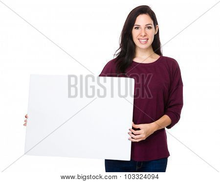 Woman show with white banner