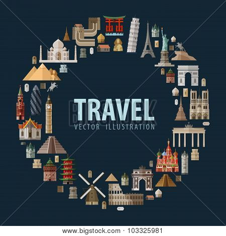 travel. vacation a set of colored icons