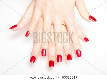 Woman Hand With Red Nails, Manicure Concept