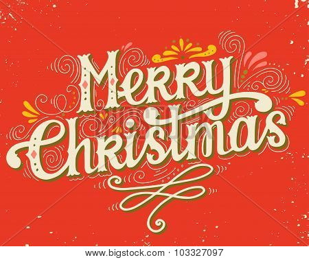 Merry Christmas Retro Poster With Hand Lettering And Decoration Elements
