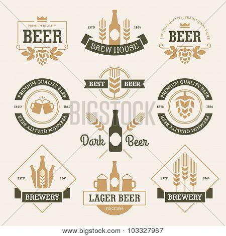 Beer Emblems On Light Background