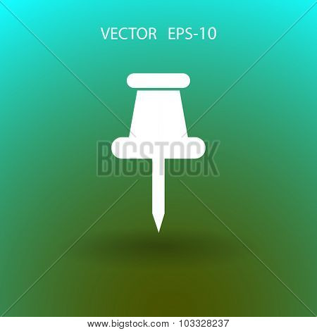 Flat long shadow Push pin icon, vector illustration