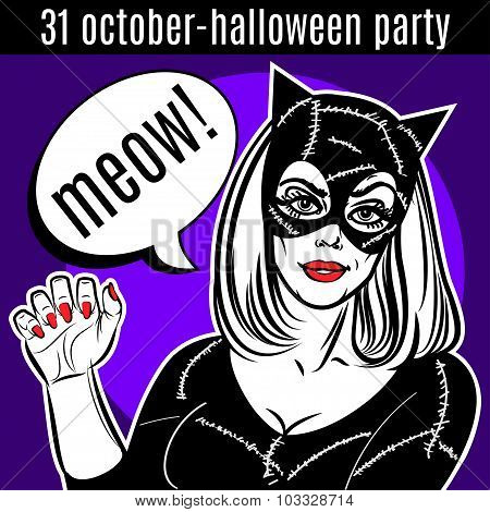 Halloween Party Design Template. Woman In Catsuit, Cat Lady, Superhero.