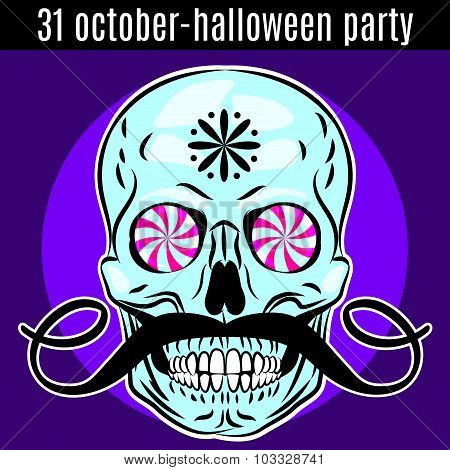 Halloween Party Design Template For Poster, Flyer. Funny Skull. Vector.