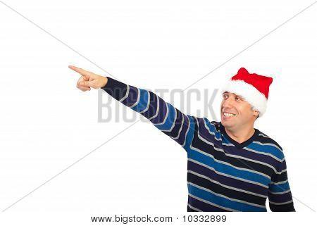 Happy Santa Helper  Man Pointing Away