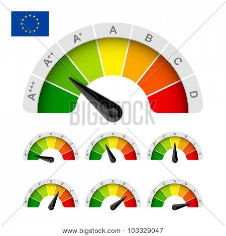 European Union energy efficiency rating. Vector.