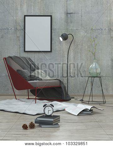 Mock Up Poster Frame,modern Interior Background 3D