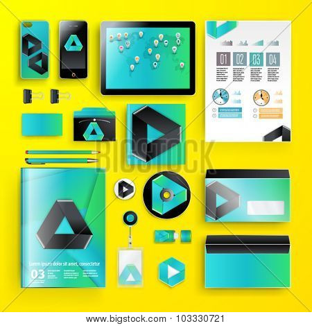Modern corporate identity template design with geometry pattern and infographics for your company. Cover layout. Business stationery.