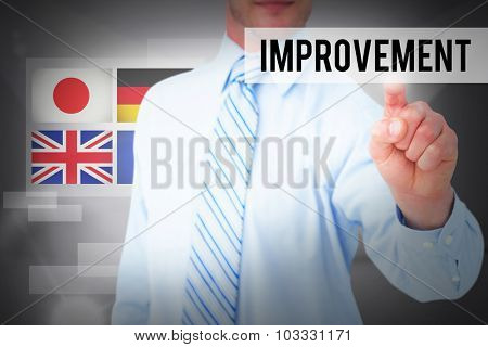 The word improvement and businessman in shirt pointing with his finger against abstract white room