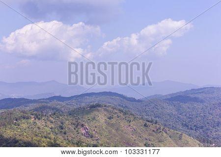 Mountain With Sky In Doi Inthanon, Chiangmai Thailand