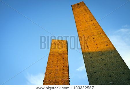 Pavia: the medieval towers at sunset. Color image