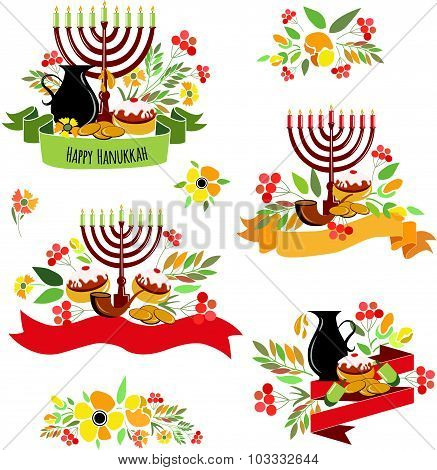 Collection Of Labels And Elements For Hanukkah (jewish Holiday)